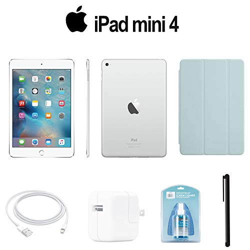 (Apple 128GB iPad Mini 4 (Wi-Fi Only, Silver) (MK9P2LL/A) with Turquoise Smart Cover + Accessories)