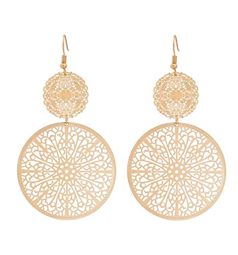 Tiande Filigree Disc Drop Earrings Double Round Disc Statement Earrings Metallic Brass Disc Dangle Hook Earrings - Gold - Disc Round Drop