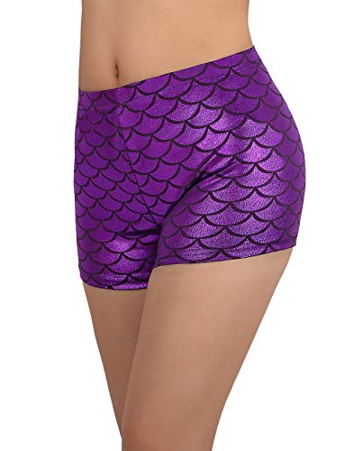 HDE Women's Mermaid Booty Shorts Fish Scale Mini Shiny Bottoms (Purple, Small)]()