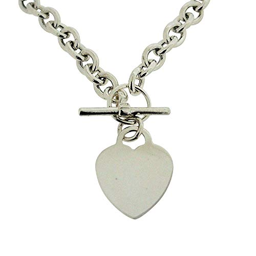 - The Olivia Collection Sterling Silver 22 Gram Heart Necklace with T-Bar Closure