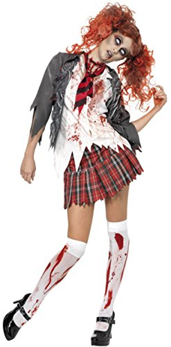 Halloween Costumes School Girl Zombie (Smiffy's Women's High School Horror Zombie Schoolgirl Costume, Jacket, Attached Shirt, Tie and Skirt, High School Horror, Halloween, Size 14-16, 32929)