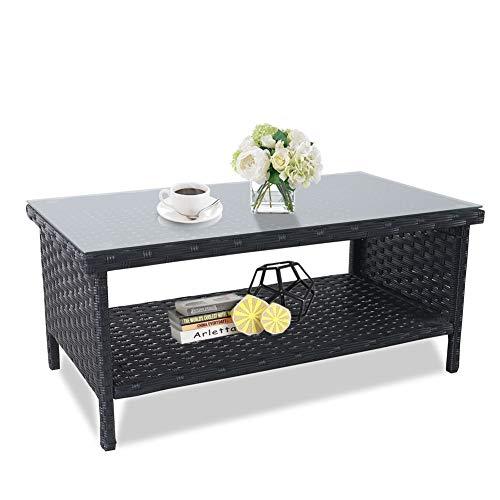 Rattaner Wicker Glass Top Coffee Table - Outdoor Patio Garden Rattan Furniture with Storage, Black ()