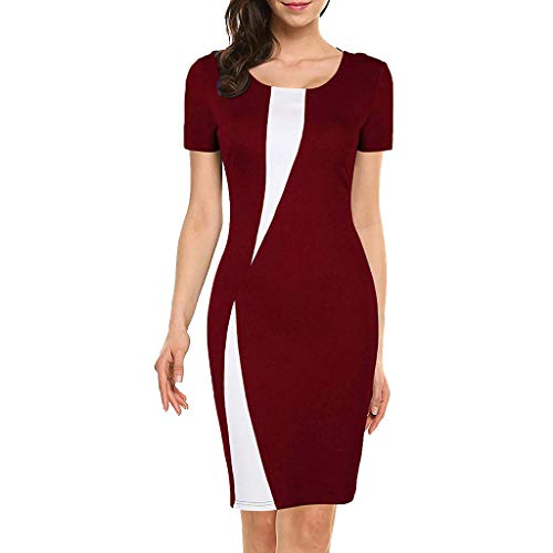 ✔ Hypothesis_X ☎ Women's Vintage Slim Style Sleeveless Business Pencil Dress Stitching Stretch Slim Dress Red ()