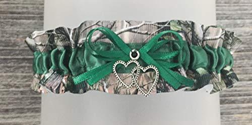 Camouflage Dark Green Satin Wedding Keepsake Camo Bridal Garter - Double Heart Charm