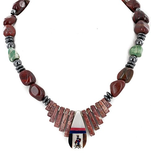Native-Bay Retail Tag Kachina Inlay Authentic Made By Charlene Little Navajo Silver Natural Turquoise Red Jasper Hematite Coral Mother of Pearl and Black Onyx Native American Necklace