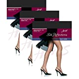 Hanes Women`s Set of 3 Silk Reflections Non-Control Top Sheer Toe Pantyhose CD, Jet