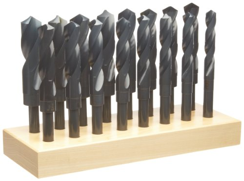 Chicago Latrobe 190 High-Speed Steel Reduced Shank Drill Bit Set, Black Oxide, 118 Degree Conventional Point, Round Shank, With Wood Stand, 16-Piece by Chicago Latrobe