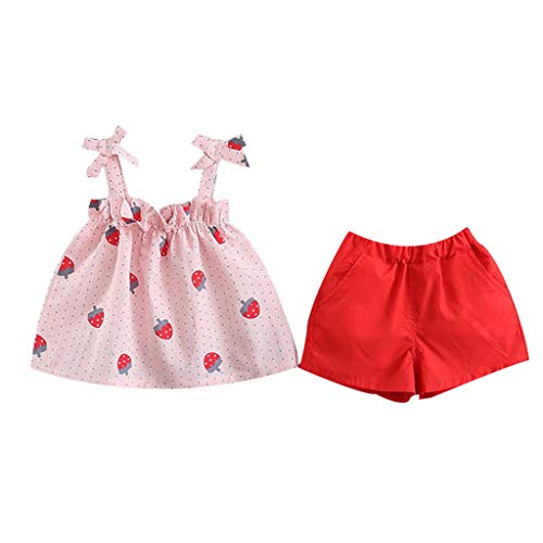 - Kids Toddler Baby Girls Summer Dress Outfits Strap Print Skirt +Shorts Pants Sunsuit Beachwear Clothes 6M-3Y Pink
