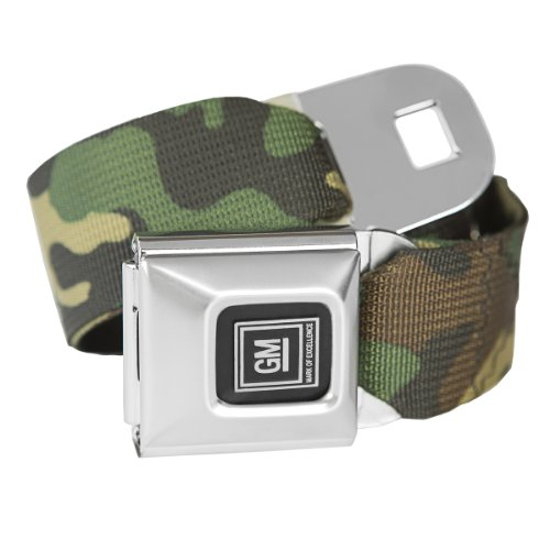 Camouflage GM Seatbelt Buckle Fashion Belt - Officially Licensed (Buckle Belt Camo Seat)