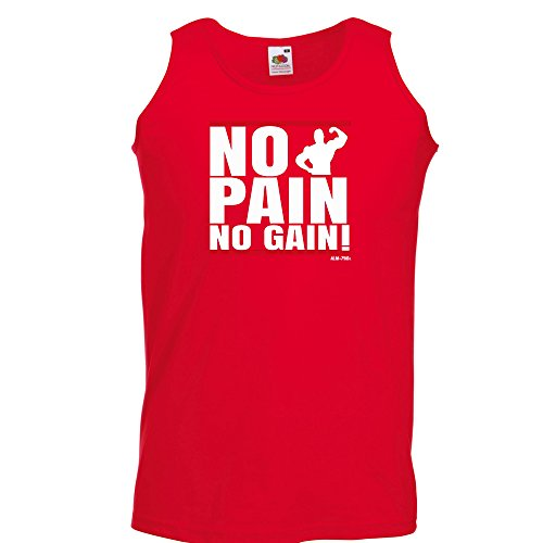Mens Funny Tank Top Vests-No Pain No Gain Gym Excercise T-Shirts-funny gifts