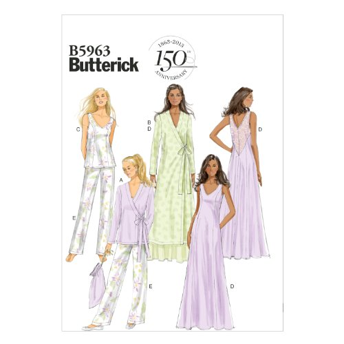 Butterick Patterns B5963 Misses' Robe, Top, Gown, Pants and Bag Sewing Templates, Size A5 (6-8-10-12-14)