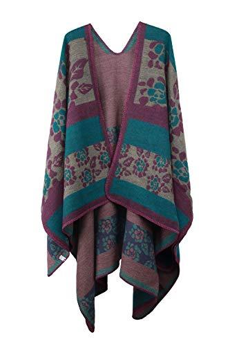 VamJump Women Winter Cashmere Oversized Blanket Poncho Cape Shawl Cardigan Coat, Green, onesize