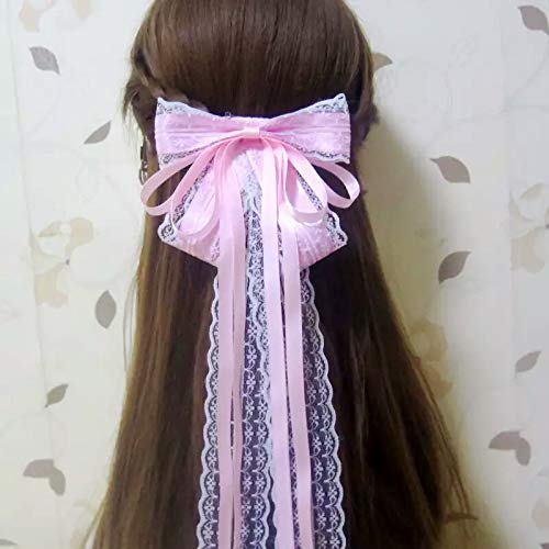 Pink Ribbon Spirit Pin - HJPRT fu-mei wide white lace flower hairpin hair pin comb claw big bow ribbon fairy maid retro high spirit ornaments hairpin (pink spring clip