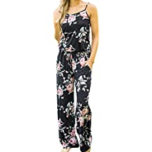 RAISINGTOP Boho Women Floral Print Sleeveless Long Playsuits Rompers Jumpsuit Loose Romper Pants Tall Sizes Elegant