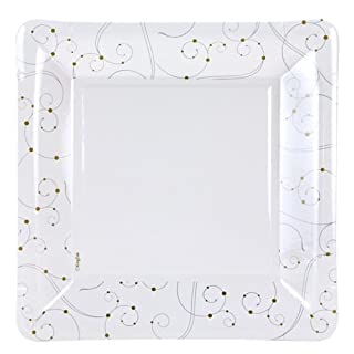 """Hanna K. Signature Collection 92094 12 Count """"Swirls and Pearls"""" Square Paper Plate, 9-Inch, Silver/Gold/White (B00OZC126K) 