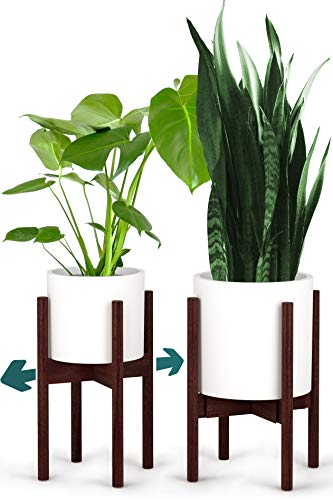 Fox & Fern Mid-Century Modern Plant Stand - Adjustable Width 8