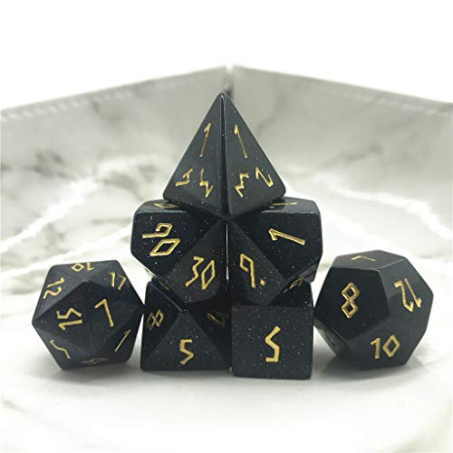 Momostar Set of 7 Stone Dice for RPG,Dungeons & Dragons Dices Handmade by Natural Gemstones. (Font B Blue ()