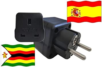 Adaptador de Viaje a España de Zimbabwe ES - ZW Enchufe de Viaje España (Protección Contacto, 2200 Vatios): Amazon.es: Bricolaje y herramientas
