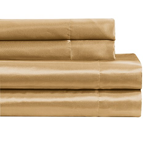 Fancy Collection 4 pc Satin Sheet Set Super Soft New (King, Gold) - Gold Bed Linens