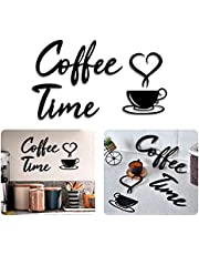 4eN Coffee Time Modern Wall Decor for Kitchen and Cafe, Wooden Coffee Station Sign with Double-Sided Tape, Coffee Time Wall Art, Coffee Bar Sign, MDF