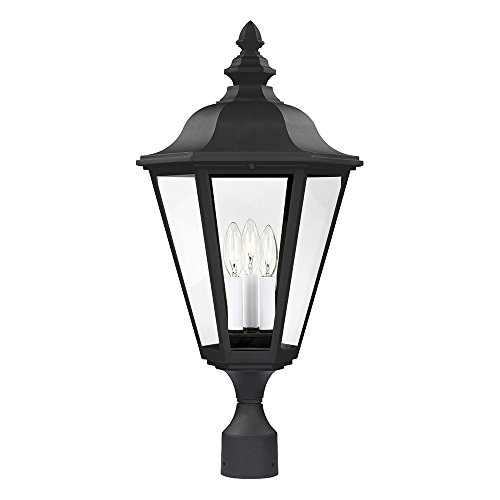 Sea Gull Lighting 8231-12 Brentwood Three-Light Outdoor Post Lantern with Clear Glass Panels, Black Finish (Living Brentwood Outdoor)