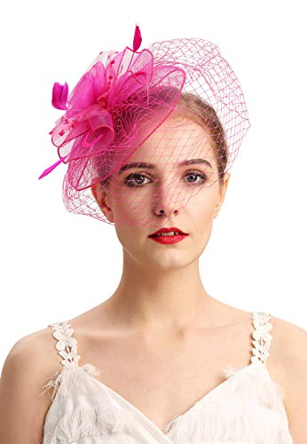 Fascinators Hats 20s 50s Hat Pillbox Hat Cocktail Tea Party Headwear with Veil for Girls and -
