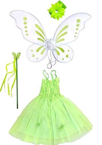 Girls Tinker Bell Inspired Costume with Pixie Wings
