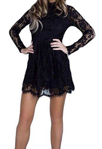 Black Stylish Womens Coolred Slim Length Casual Mid Hollow Solid Lace Dress vFFSZwq