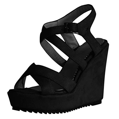 (Women's Wedges Sandals Summer High Platform Elastic Band Open Toe Slingback Ankle Strap Shoes (Black -9, US:7.5))