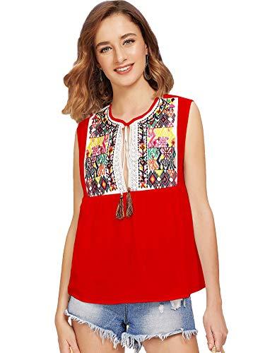 Floerns Women's Sleeveless Embroidered Tassel Tie Neck Blouse Red L