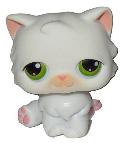 Littlest Pet Shop Long Hair Sitting White Persian Cat with Green Eyes #15 LOOSE/Packaged in Parts Bag