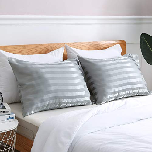 Amazon.com: Treely Two-Pack Silky Striped Satin Pillowcase