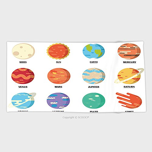 27.5W x 11.8L Inches Custom Cotton Microfiber Ultra Soft Hand Towel Planets Colorful Vector Set On White Background, Planet Icons 3D Infographic Elements 376647898 (Cynthia Storage Bed)
