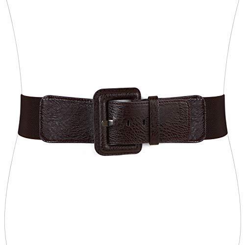 WERFORU Women Wide Elastic Belt for Dress Ladies Stretchy Belt with Interlocking Buckle (Interlocking Buckle)