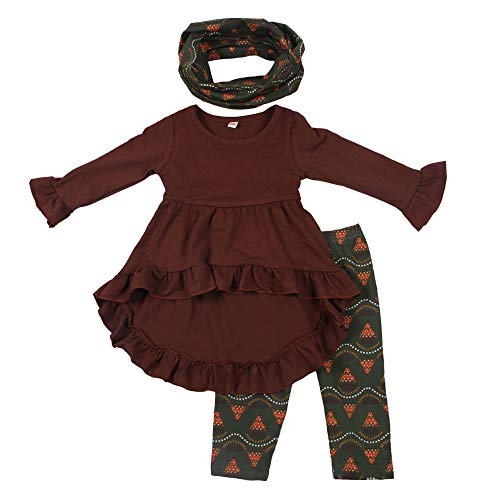 Baby Clothing Children's Boutique 3pcs Girls Fall Clothes Set Kids Outfit with Scarf -