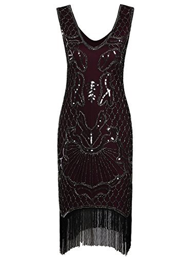 - Vijiv Vintage 1920s Dress Flapper Costume Black Sequin Fringe Party Gatsby Dresses