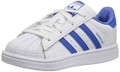 adidas Originals Kids' Superstar, White/Blue/Collegiate Royal, 1 M US Little Kid