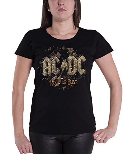 AC/DC Rock Or Bust Distressed Logo Official Womens New Black Skinny Fit T Shirt