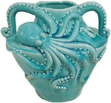 HomeView Design 19408 Vase Octopus W Handle On Body Cracker Blue 12 L, 3 Piece