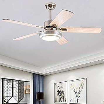 Andersonlight 42-Inch Contemporary LED Ceiling Fan 5 Silver Wood Blades and Remote Control 3-Light Changes Indoor Mute Energy Saving Fan Chandelier for Home Decoration