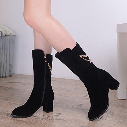 KHSKX-Le Nouveau Talon Haut Moyen Des Chaussures En Cuir Et Les Bottes D'Hiver Des Bottes Pour Femmes black 6C5ZsgYZ2D