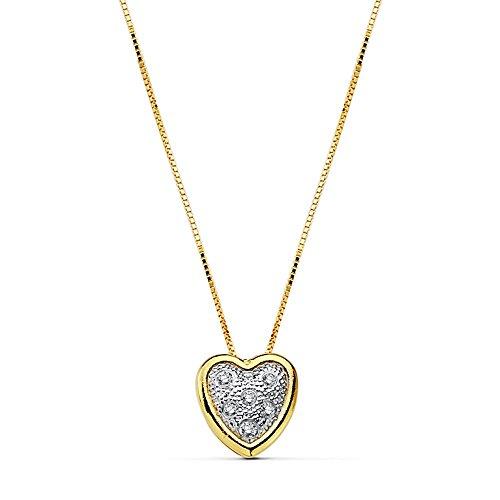 Pendentif 18k collier coeur or zircons chaîne de 42cm. [AB2385]