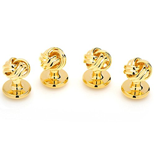 Ox and Bull Mens Plated Gold-Tone Knot Cufflink Studs