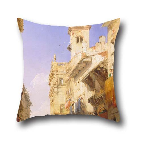 18 X 18 Inches / 45 By 45 Cm Oil Painting Richard Parkes Bonington - Corso Sant'Anastasia, Verona Pillowcover,twin Sides Is Fit For Divan,seat,home,shop,home Office,home Theater - Verona Duvet