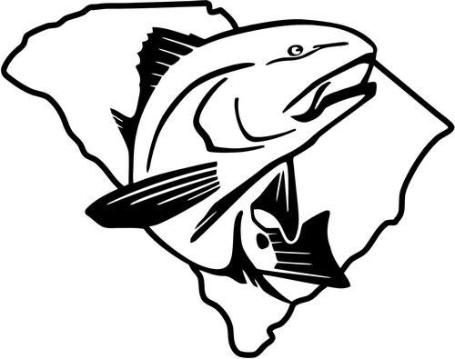 Mandy Graphics South Carolina Redfish Spottail Bass Fishing Vinyl Die Cut Decal Sticker for Car Truck Motorcycle Windows Bumper Wall Home Office Decor Size- [8 inch/20 cm] Wide and Color- Gloss White (Best Bass Fishing In South Carolina)