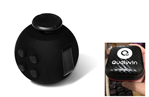 Qualwin 2017 Best NEW Upgraded Version Fidget Cube, Anti-anxiety and Depression Cube for Children and Adults (Black)