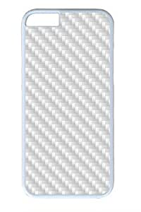White Carbon Fiber1 PC Case Cover for iPhone 6 and iPhone 6 White
