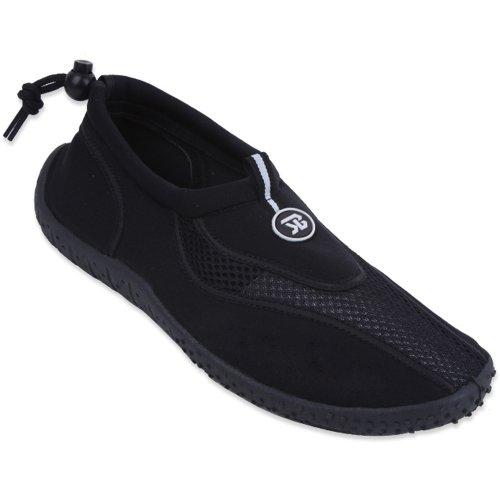 B5907a Mens Chaussures Deau Aqua Chaussettes 4 Couleurs Glisser Sur La Piscine Plage Surf Yoga Sport Exercice De Danse Athlétique Noir-1