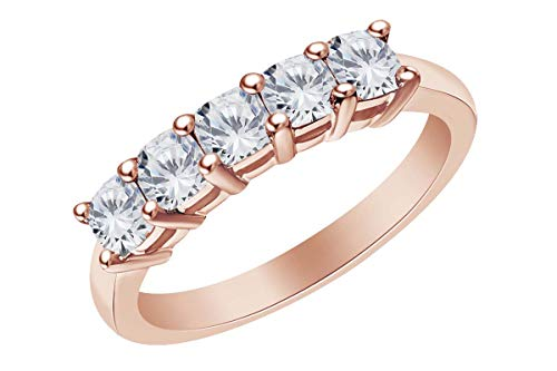 Cushion Shape White Natural Diamond Five Stone Wedding Ring 14k Solid Rose Gold (2.5 Cttw)