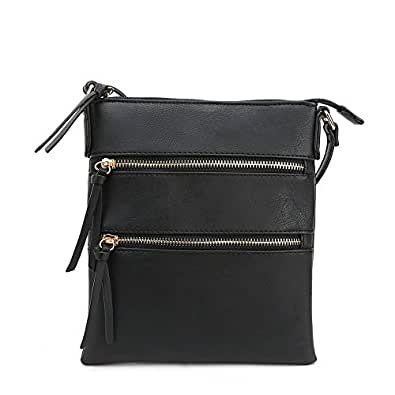 DELUXITY Essential Casual Functional Multi Pocket Double Zipper Crossbody Purse Bag for Women Black Size: One Size